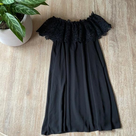 Eliza J Lace Off-The- Shoulder Black Short Dress